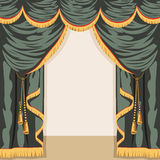 Open backstage theater. Vector. Large and expensive scenes of green with Golden fringe. Vector illustration Royalty Free Stock Photo
