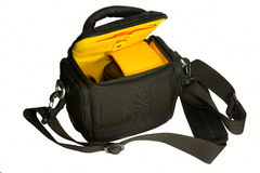 Open bag with camera Stock Image