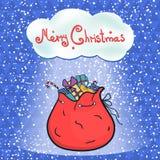 Open bag full of gifts Santa Stock Image