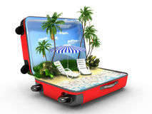 Open bagage, vakantieconcept Royalty-vrije Stock Afbeelding