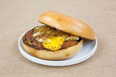 Open Bagel With Sausage Egg Small Plate Stock Photos