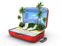 Open baggage, vacation concept Royalty Free Stock Images