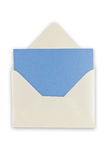 Open balnk white envelope. Open blank white envelope with blue paper inside, isolated, clipping path excludes the shadow Stock Photo