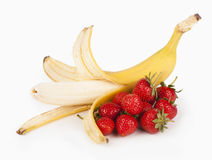 Open banana and strawberry Stock Images
