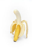 Open banana on white background. Banana isolated on white background Stock Photo