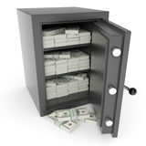 Open bank safe with dollars inside. Computer generated image Royalty Free Stock Photo