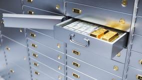 Open bank safe door with bills and gold inside 3d. Open bank safe door with dollars bills and gold inside 3d illustration Royalty Free Stock Image