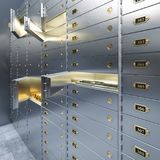 Open bank safe door with dollars bills and gold inside 3d. Illustration Royalty Free Stock Images