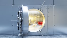 Open bank safe door with dollars bills and gold inside 3d. Illustration Royalty Free Stock Photo