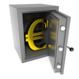 Open bank safe with gold euro sign inside. Royalty Free Stock Photography