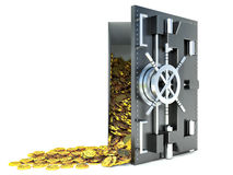 Open a bank vault with a bunch of gold coins. isolated on white Royalty Free Stock Image