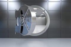 Open bank vault. 3d rendering metallic bank safe or steel safe open stock illustration