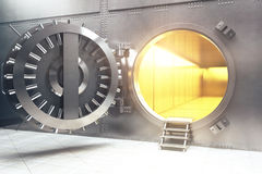 Open bank vault. With golden walls. 3D Render Royalty Free Stock Photos