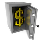 Open bankbrandkast met gouden dollar binnen teken. Royalty-vrije Stock Fotografie