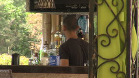Open bar in the resort of Golden Sands, Bulgaria. Varna - the sea capital of Bulgaria, a center of shipping and tourism. Today it is the third largest and most stock footage