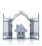 Open baroque gate with blue house Stock Photos