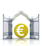 Open baroque gate with euro coin Stock Images