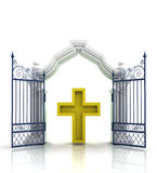 Open baroque gate with golden cross Stock Photos