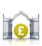 Open baroque gate with pound coin Stock Image