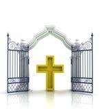 Open Baroque Gate With Golden Cross Stock Photos