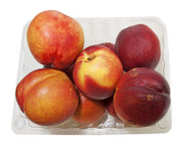 Open Basket with fresh organic Nectarines Royalty Free Stock Photos