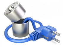 Open battery charger with plug. Royalty Free Stock Photos