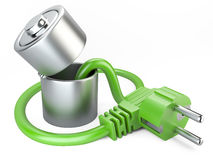 Open battery charger with plug. eco concept. Royalty Free Stock Images