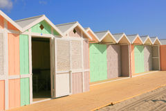 Open Beach hut on summer sky. Mediterranean furnished beach area with colorful huts. Palermo (island of Sicily) Italy Royalty Free Stock Photos