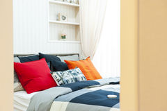 Open the bedroom with pillows Stock Photo