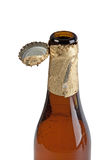 Open beer bottle with cover Royalty Free Stock Photography