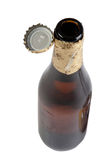 Open beer bottle with cover Stock Photos
