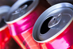 Open beer cans. Close up of three open beer cans Stock Image