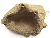 Open beige linen sack with the braids Royalty Free Stock Images