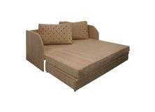 Open Beige sofa on white Stock Photos