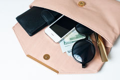 Open beige woman's clutch Royalty Free Stock Image