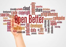Open Better word cloud and hand with marker concept. On white background royalty free stock photos