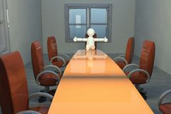 Open bewaffnete Marionette im Konferenzzimmer Stockbild