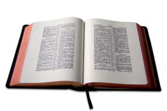 Open Bible. Bible Isolated, open in psalms Stock Photo