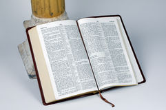 Open Bible. Resting on stand stock photography