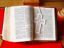 Open bible. German bible on an altar in a church Stock Photo