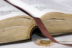 Open Bible. A well used bible lays open with a pressed flower as a marker of years gone by Royalty Free Stock Image