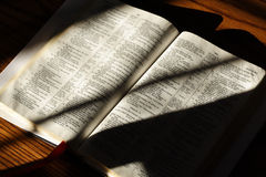 Open Bible. Bible open to the Psalms laying on a table for reading or study Stock Image