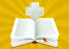 Open Bible. Vector illustration of open Bible with ornate cross on background of Sunbeams Stock Images