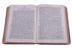 Open Bible. The old Bible is isolated on a white background. Song of Solomon Stock Image