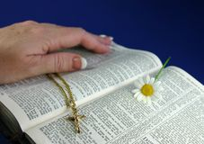 Open Bible. Hand touching pages of open bible, with gold crucifix and flower Royalty Free Stock Images