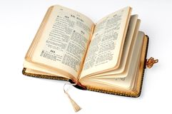 Open Bible. Isolated on a white background, with clipping path Stock Photos