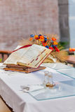open Bible on the altar of Catholic Church Royalty Free Stock Image
