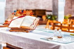 Open Bible on the altar of Catholic Church Royalty Free Stock Photos