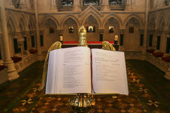 Open bible in ancient church in England Stock Photo