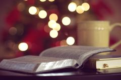 Open bible with bokeh lights Royalty Free Stock Photo